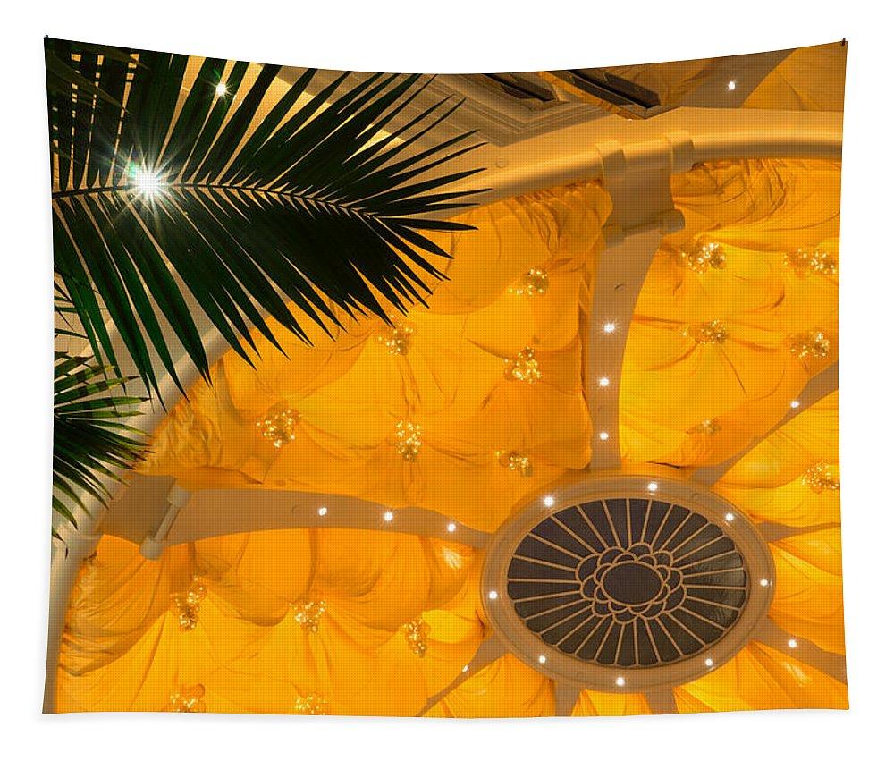 Sunshine Yellow Tapestry featuring the photograph Sunshine Yellow Silk Decor With Stars by Georgia Mizuleva