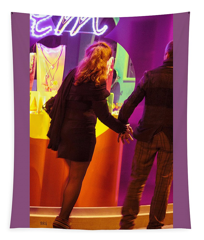 Nightlife Tapestry featuring the photograph No Time For Shopping by Ben and Raisa Gertsberg
