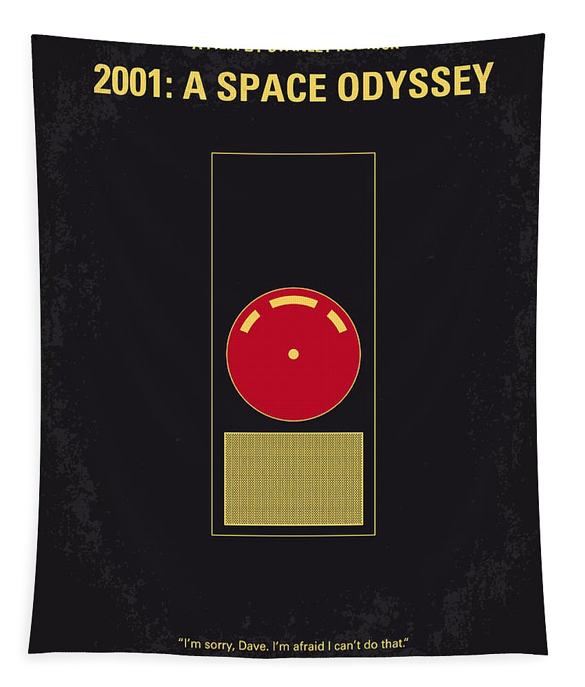 2001: A Space Odyssey Tapestry featuring the digital art No003 My 2001 A space odyssey 2000 minimal movie poster by Chungkong Art