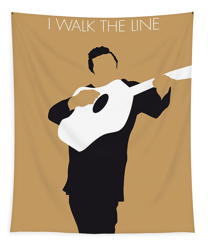Johnny Tapestry featuring the digital art No010 My Johnny Cash Minimal Music Poster by Chungkong Art