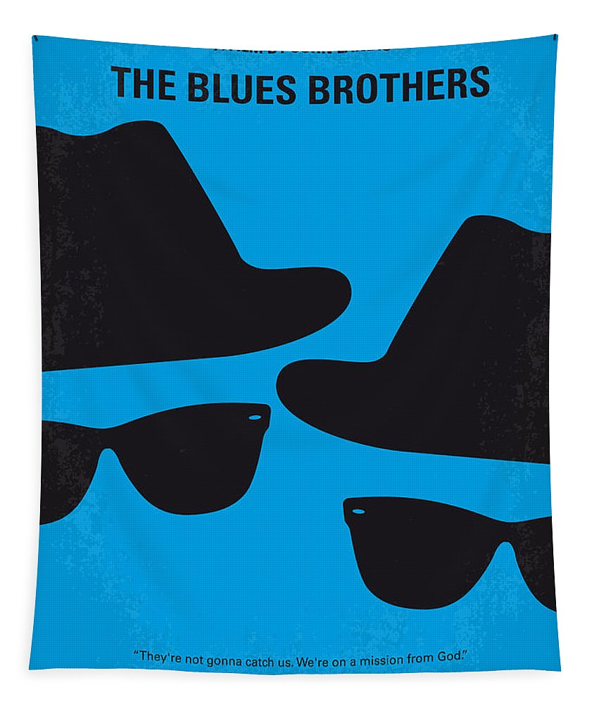 Blues Tapestry featuring the digital art No012 My blues brother minimal movie poster by Chungkong Art