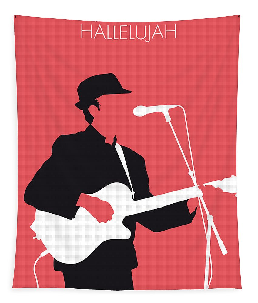 Leonard Tapestry featuring the digital art No042 My Leonard Cohen Minimal Music by Chungkong Art