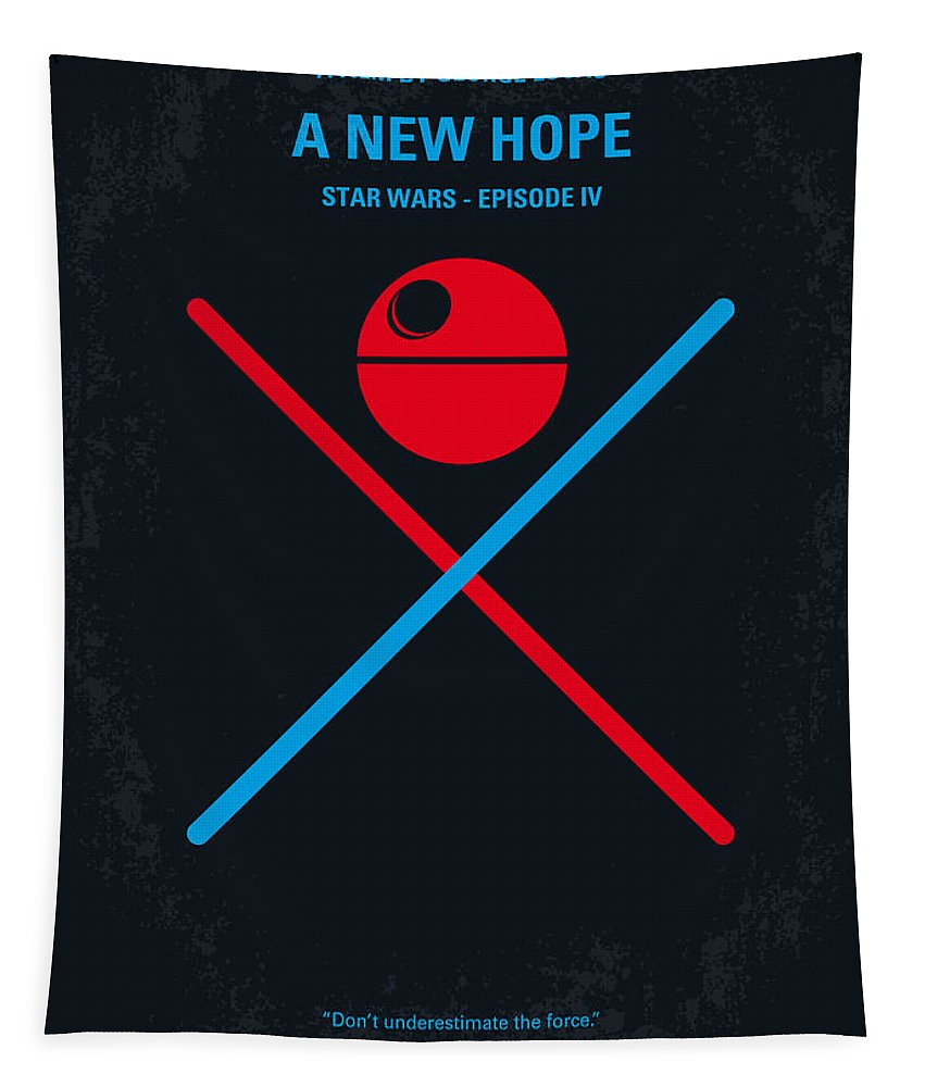 Star Tapestry featuring the digital art No154 My STAR WARS Episode IV A New Hope minimal movie poster by Chungkong Art
