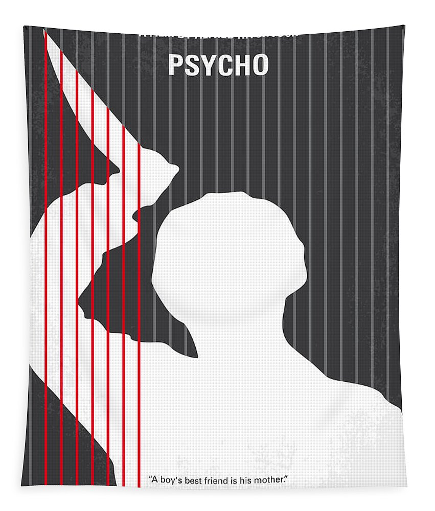 Psycho Tapestry featuring the digital art No185 My Psycho minimal movie poster by Chungkong Art