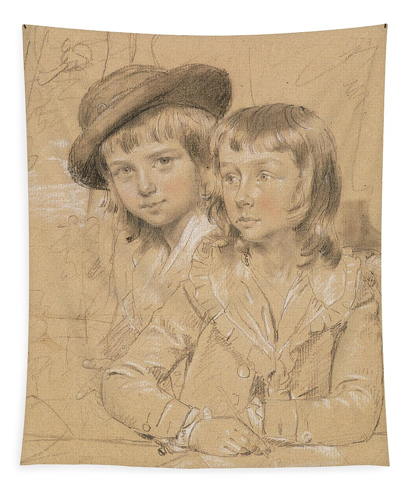 Portrait Tapestry featuring the drawing No.1933 Benjamin And Lewis Way by John Downman