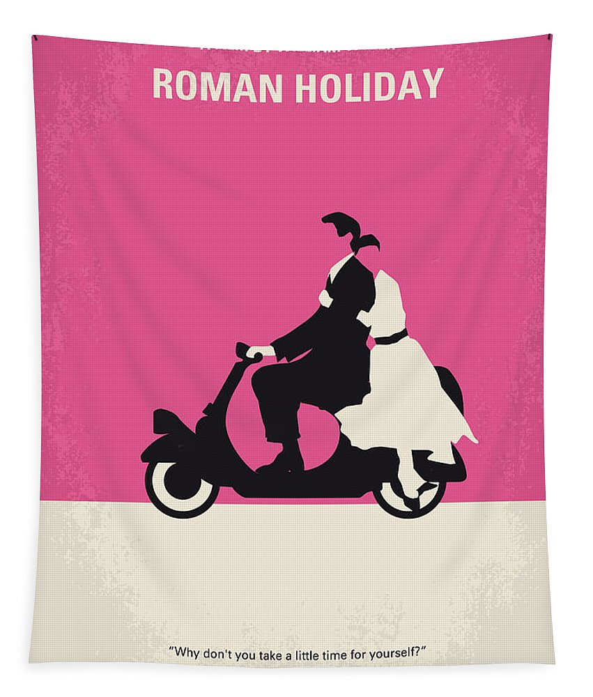 Roman Tapestry featuring the digital art No205 My Roman Holiday Minimal Movie Poster by Chungkong Art