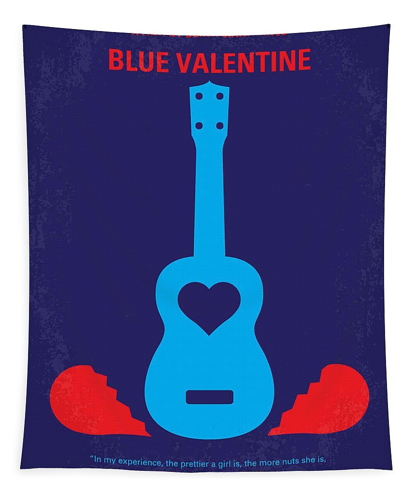 Blue Tapestry featuring the digital art No379 My Blue Valentine Minimal Movie Poster by Chungkong Art