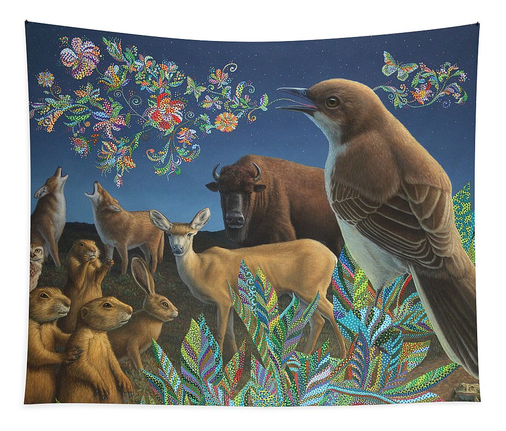 Mockingbird Tapestry featuring the painting Nocturnal Cantata by James W Johnson
