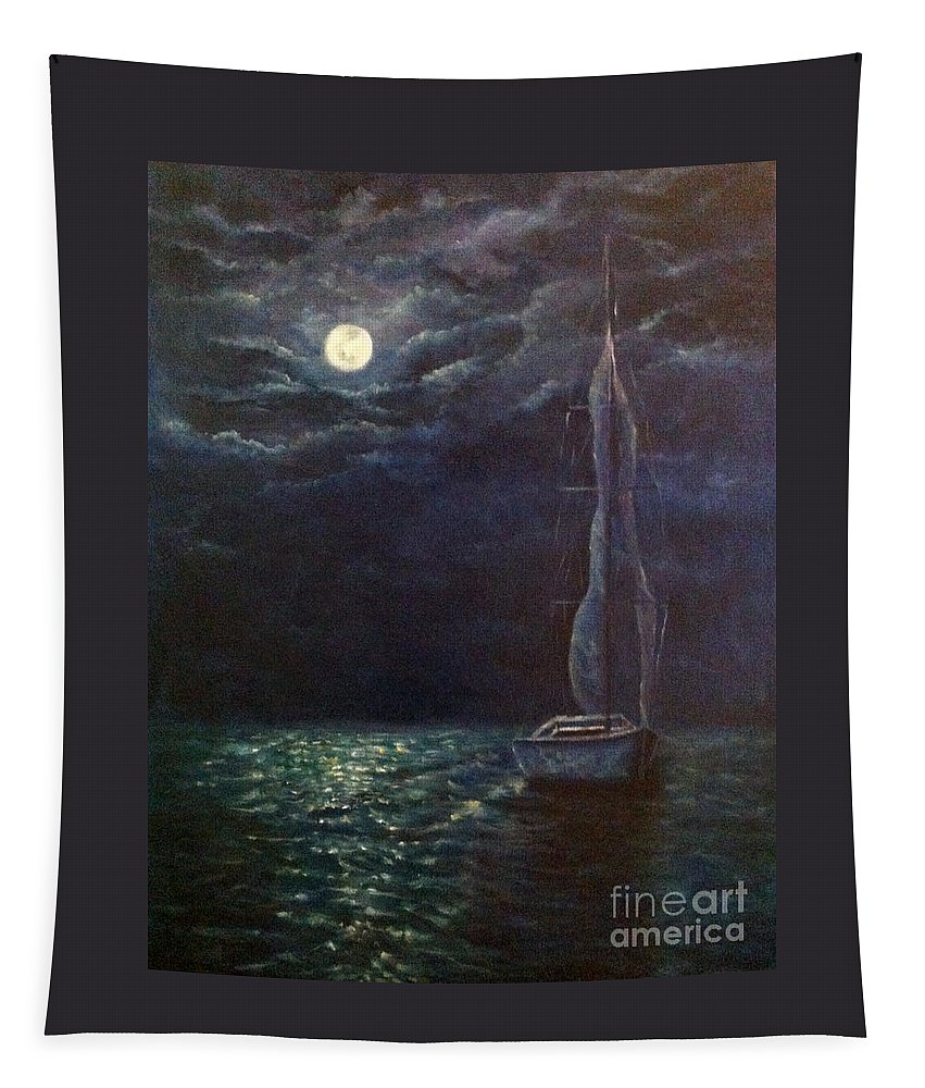 Night Tapestry featuring the painting Nocturne Song by Alina Martinez-beatriz