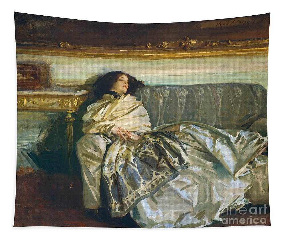 Couch; Sofa; Portrait; Female; Reclining; Interior; Ennui; Shawl; Edwardian Tapestry featuring the painting Nonchaloir Repose by John Singer Sargent
