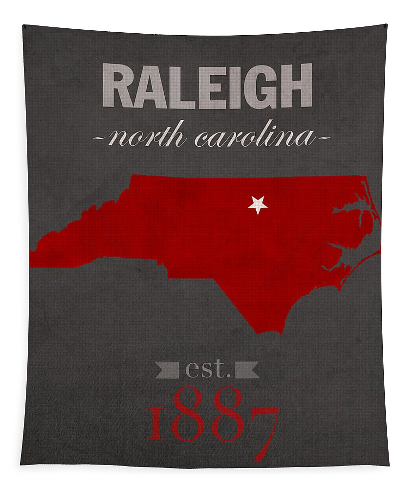 North Carolina State University Tapestry featuring the mixed media North Carolina State University Wolfpack Raleigh College Town State Map Poster Series No 077 by Design Turnpike