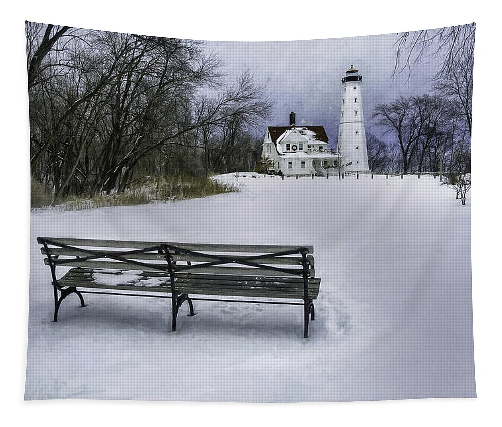 Lighthouse; Light House; Architecture; Beacon; Winter; Snow; Overcast; Cloudy; Cold; White; Tower; Keeper; House; Milwaukee; Lake Michigan; Structure; Building; Midwest; Shore; Nautical; Light Station; Coast; Frozen; Ice; Fine Art Photography; Scott Norris Photography; Bench; Sit; Rest; Park Bench; Wooden Bench Tapestry featuring the photograph North Point Lighthouse And Bench by Scott Norris