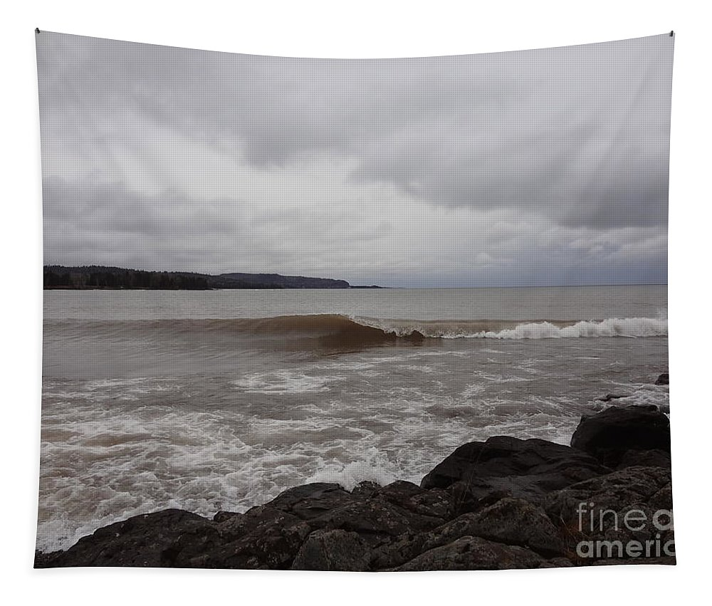 Minnesota Tapestry featuring the photograph North Shore Wave by Jacqueline Athmann