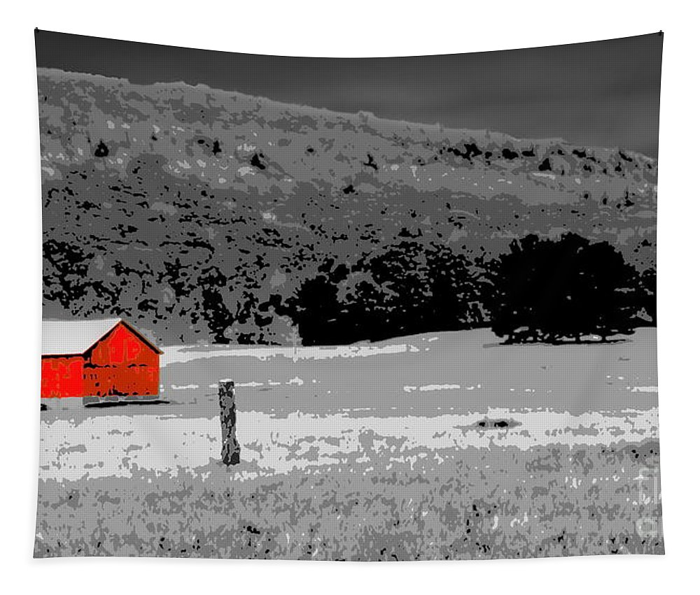 Digital Selective Color Photo Tapestry featuring the digital art Northern Michigan Farm Sc by Tim Richards