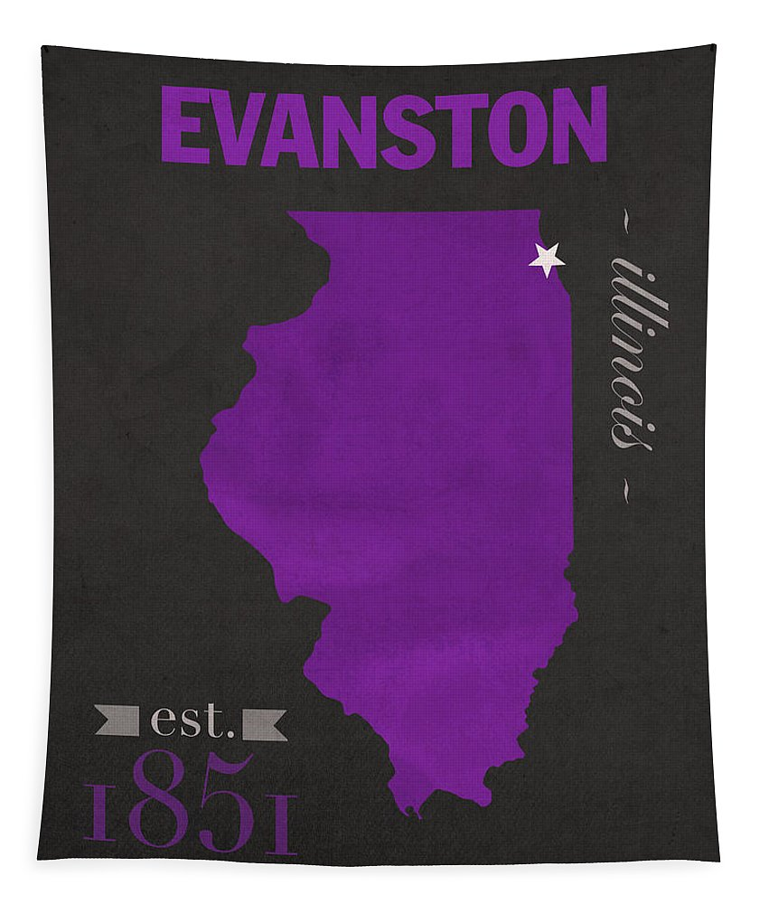 Northwestern University Tapestry featuring the mixed media Northwestern University Wildcats Evanston Illinois College Town State Map Poster Series No 080 by Design Turnpike