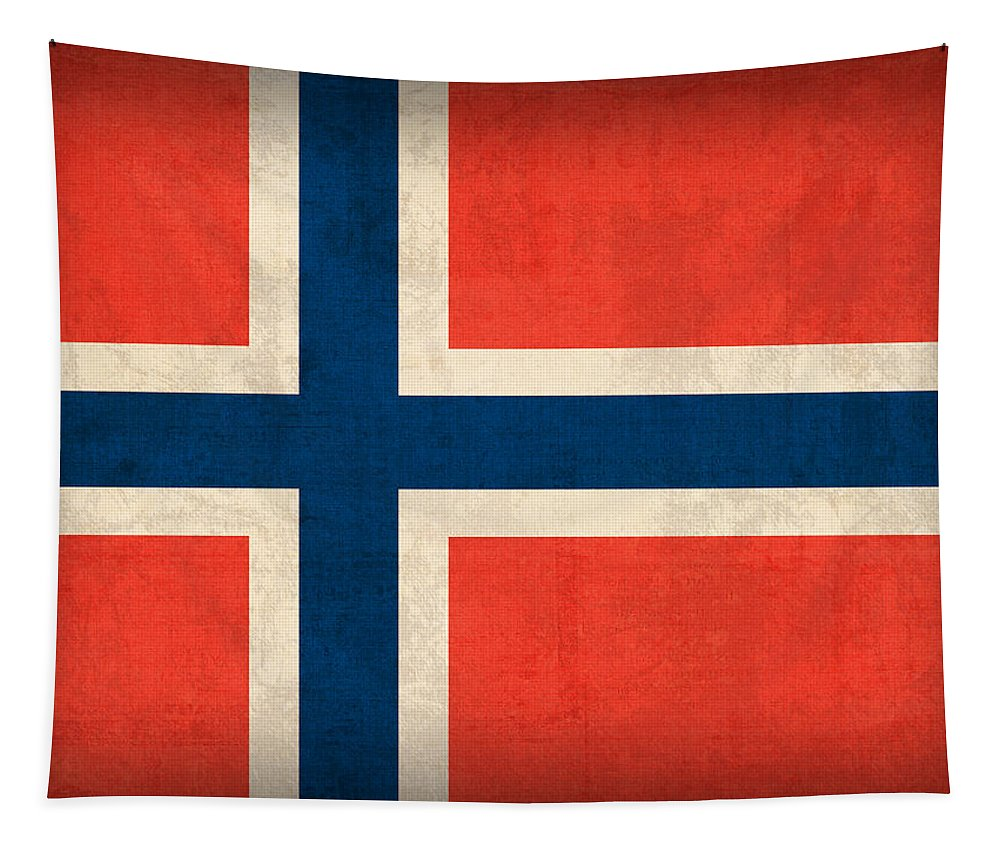 Norway Flag Distressed Vintage Finish Norwegian Oslo Scandinavian Europe Country Nation Tapestry featuring the mixed media Norway Flag Distressed Vintage Finish by Design Turnpike