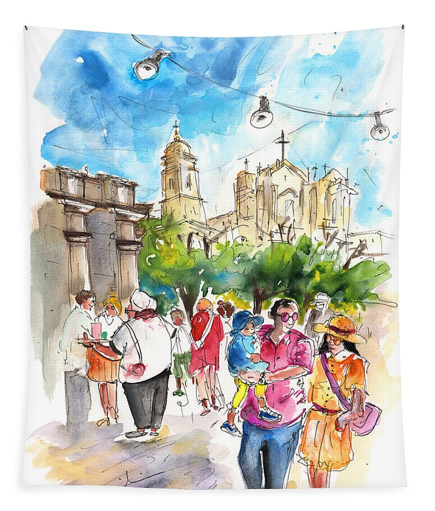 Travel Tapestry featuring the painting Noto 06 by Miki De Goodaboom