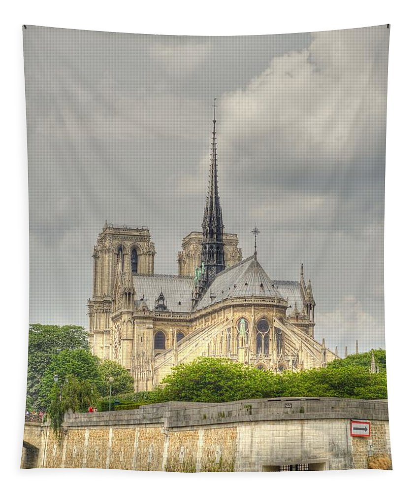 Notre Dame Tapestry featuring the photograph Notre Dame From The Seine by Linda Covino