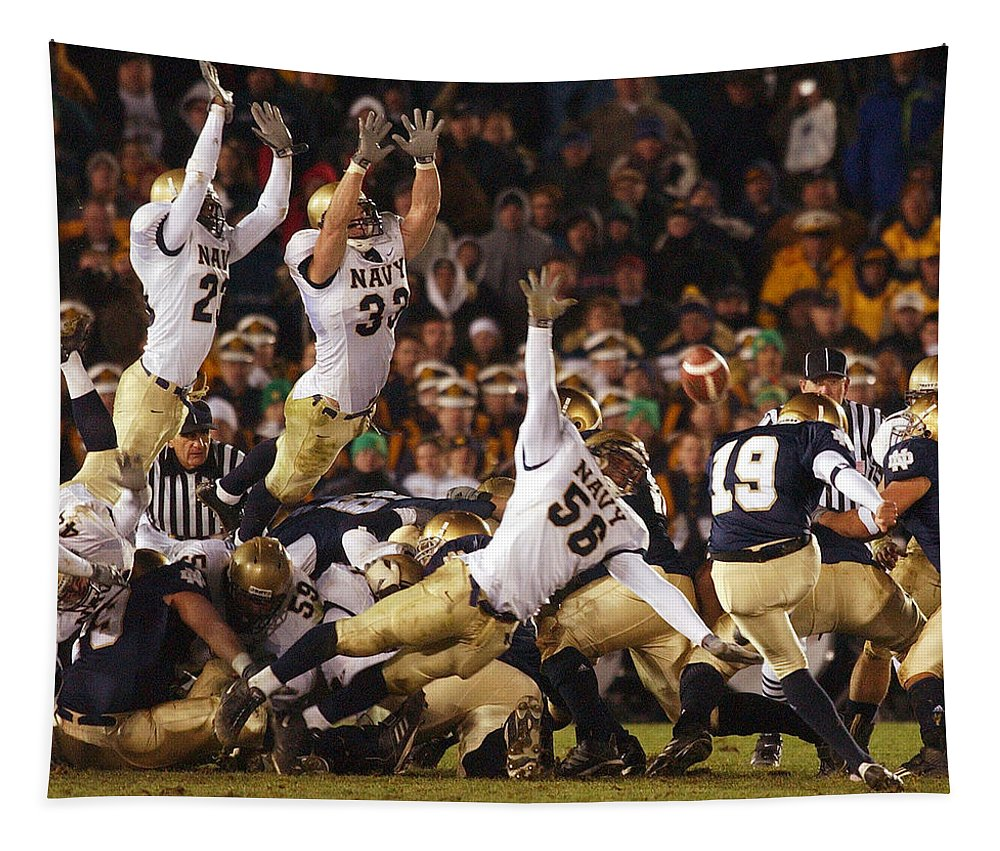Football Tapestry featuring the photograph Notre Dame Versus Navy by Mountain Dreams