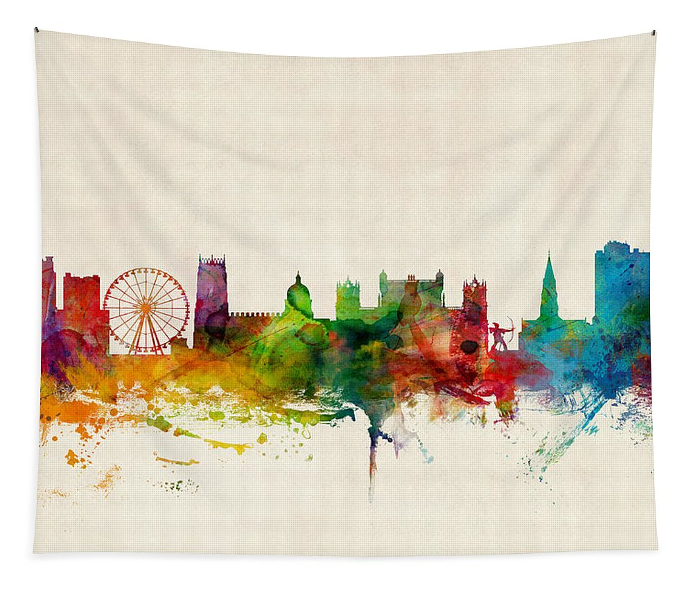 City Tapestry featuring the digital art Nottingham England Skyline by Michael Tompsett