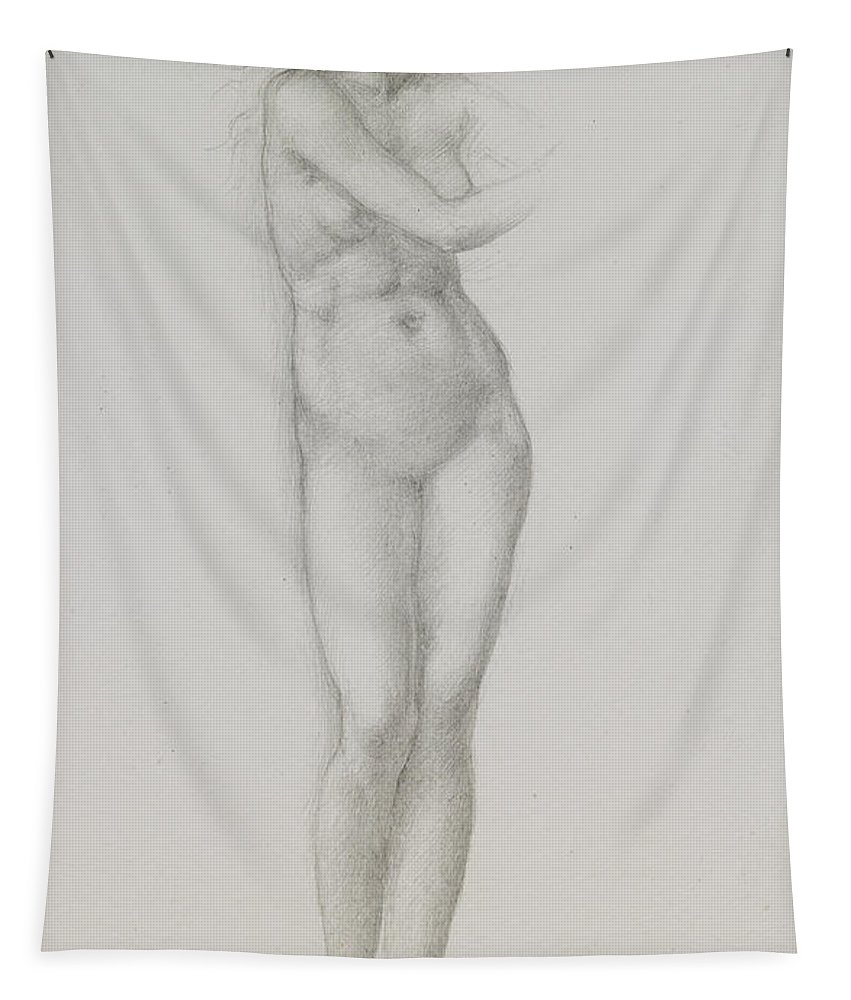 Nude Tapestry featuring the drawing Nude Female Figure Study For Venus From The Pygmalion Series by Sir Edward Coley Burne-Jones