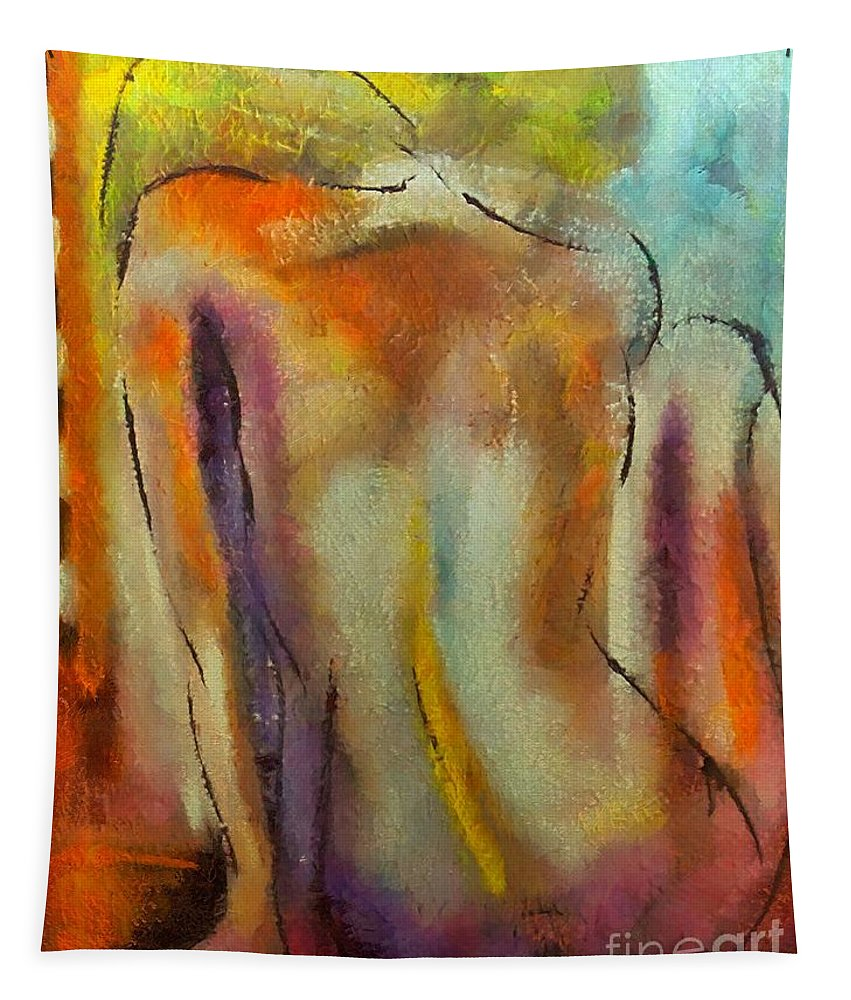 Mixed Media Tapestry featuring the mixed media Nude IIi by Dragica Micki Fortuna