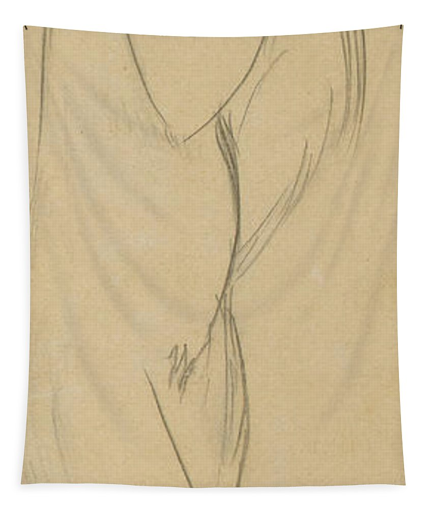 Nude Tapestry featuring the drawing Nude Woman by Amedeo Modigliani