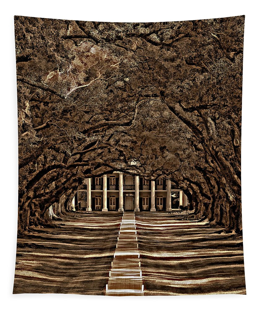 Oak Alley Plantation Tapestry featuring the photograph Oak Alley Bw by Steve Harrington