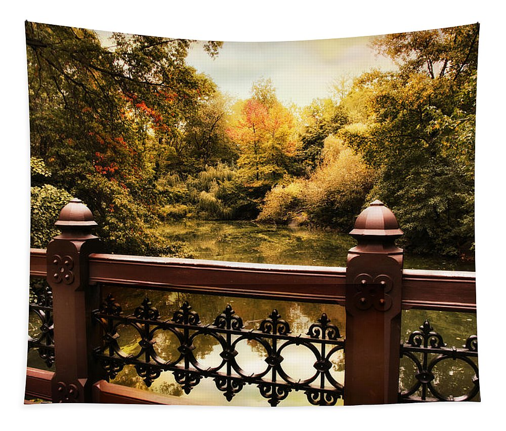 Bridge Tapestry featuring the photograph Oak Bridge Autumn by Jessica Jenney