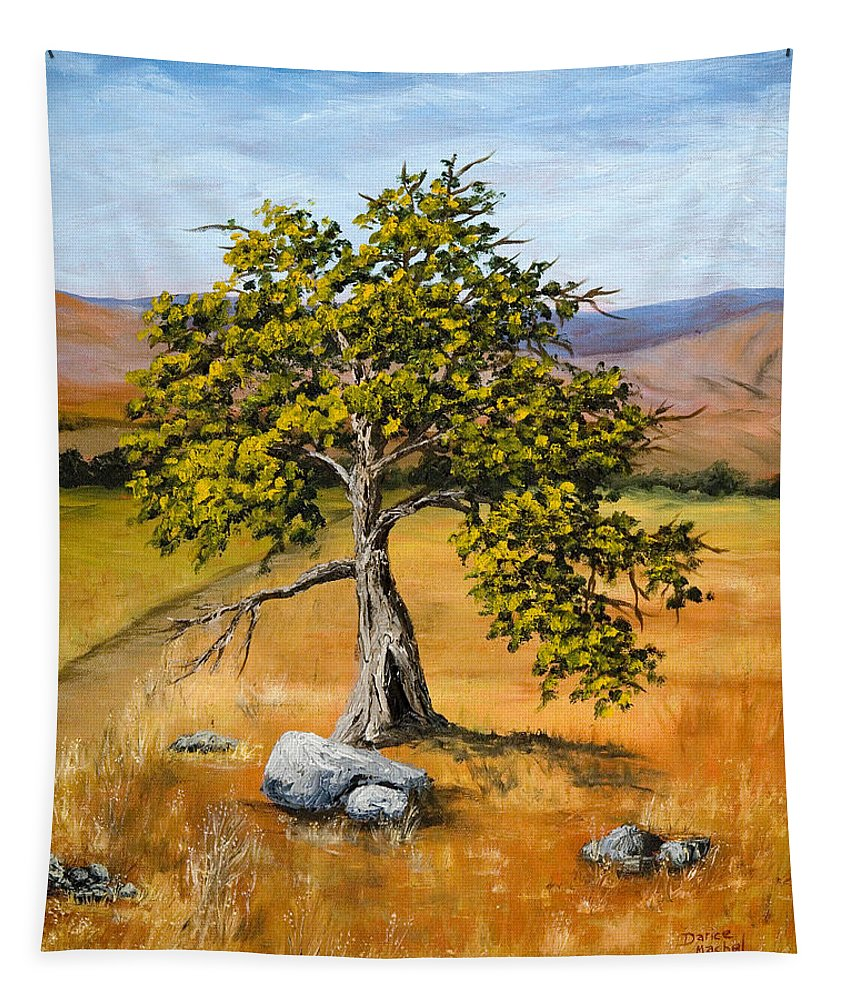 Landscape Tapestry featuring the painting Oak Tree by Darice Machel McGuire