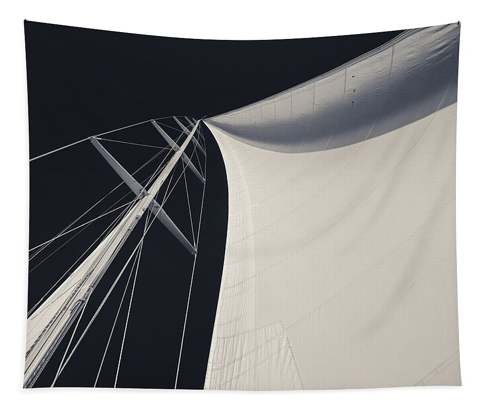 Sails Tapestry featuring the photograph Obsession Sails 3 Black And White by Scott Campbell