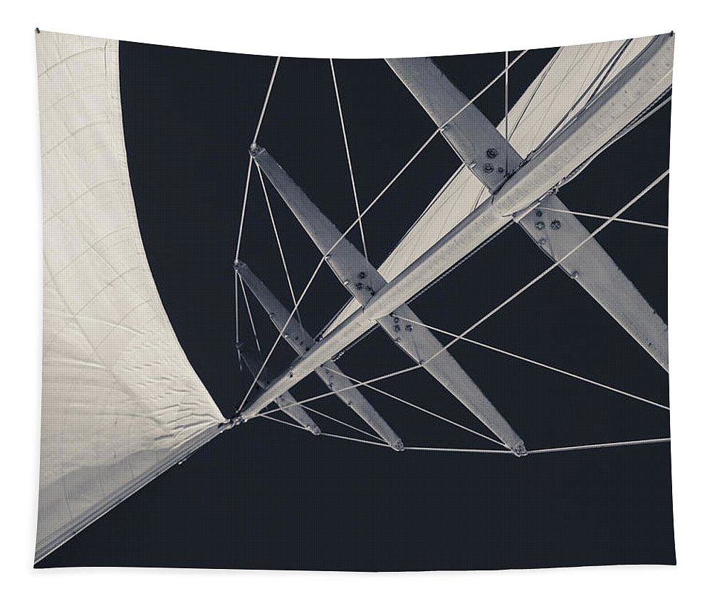 Sails Tapestry featuring the photograph Obsession Sails 7 Black And White by Scott Campbell