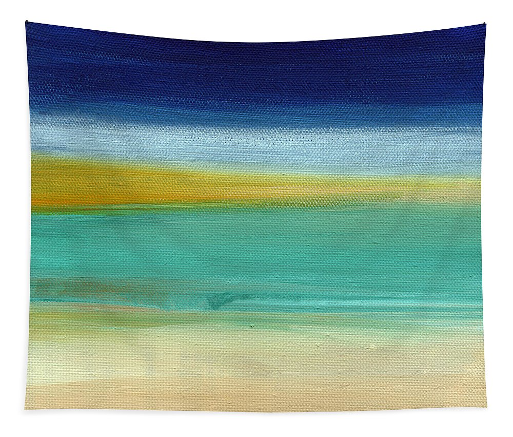 Abstract Tapestry featuring the painting Ocean Blue 3- Art By Linda Woods by Linda Woods