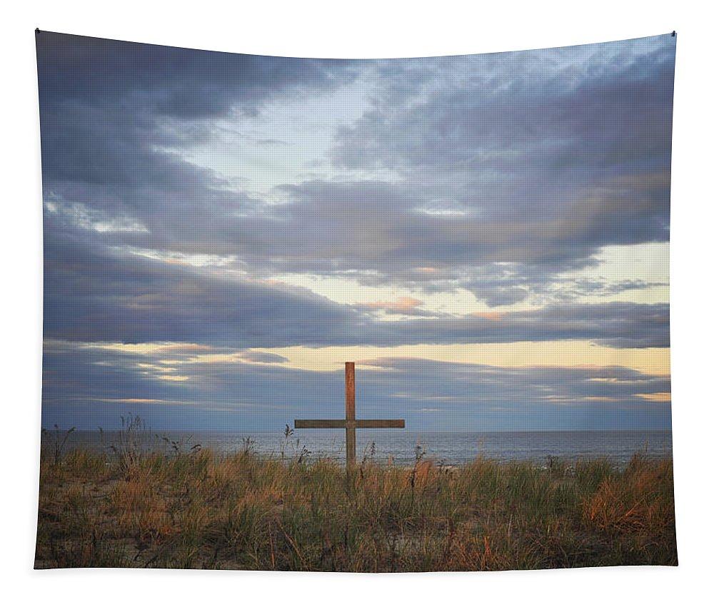 Ocean Grove Nj Beach Cross Tapestry featuring the photograph Ocean Grove Nj Beach Cross by Terry DeLuco