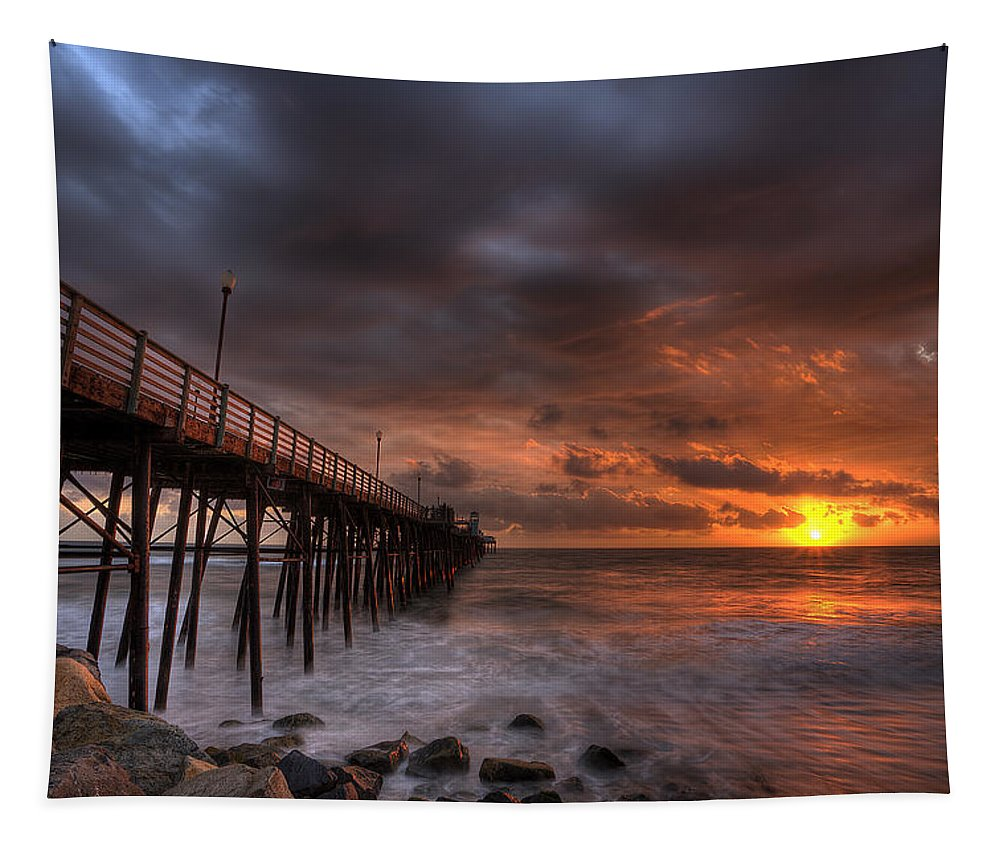 Sunset Tapestry featuring the photograph Oceanside Pier Perfect Sunset by Peter Tellone