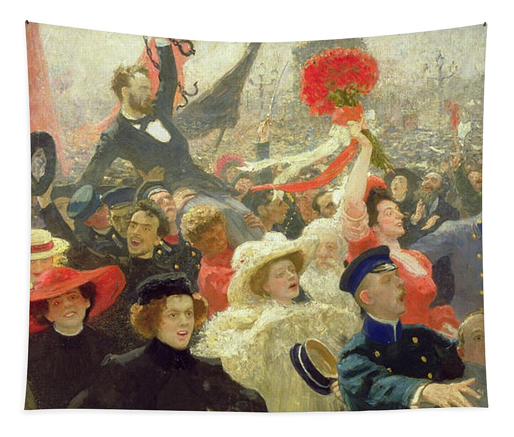 Russian; Revolution; Political Unrest; Crowd; Crowds; Demonstration; Banner; Red; Banners; Flag; Flags; Mutiny; Strike; Strikes; Anti-capitalist; Peredvizhniki; Peredvizhniki Group Tapestry featuring the painting October 17th 1905 by Ilya Efimovich Repin