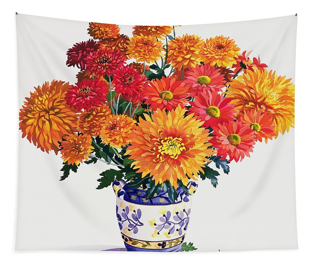 Chrysanthemum Tapestry featuring the painting October Chrysanthemums by Christopher Ryland