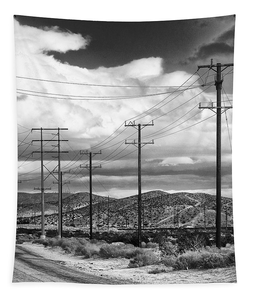 Windmills Tapestry featuring the photograph October Road Palm Springs by William Dey
