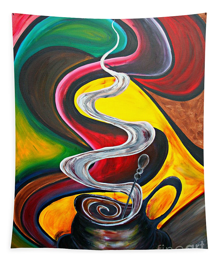 Coffee Tapestry featuring the painting Ode To Coffee... by Jolanta Anna Karolska