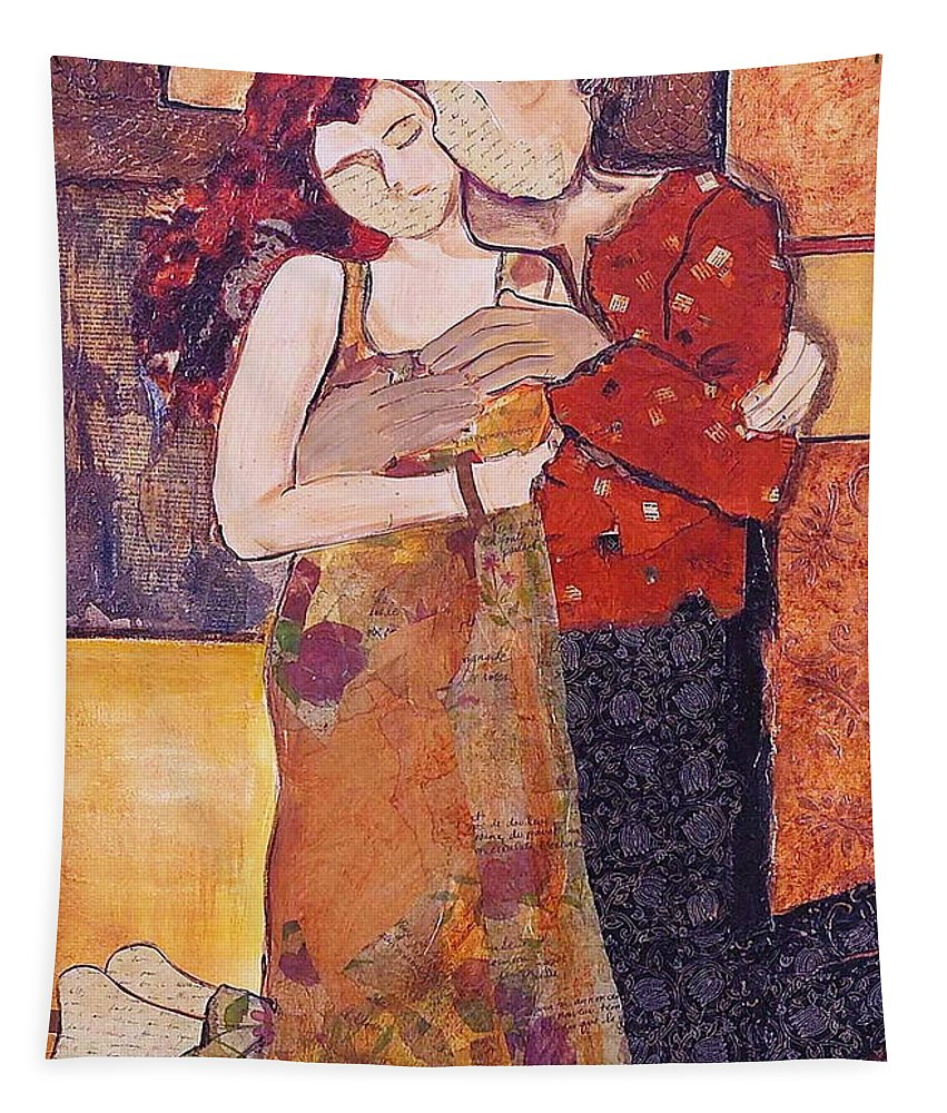 Man Tapestry featuring the painting Ode To Klimt by Debi Starr