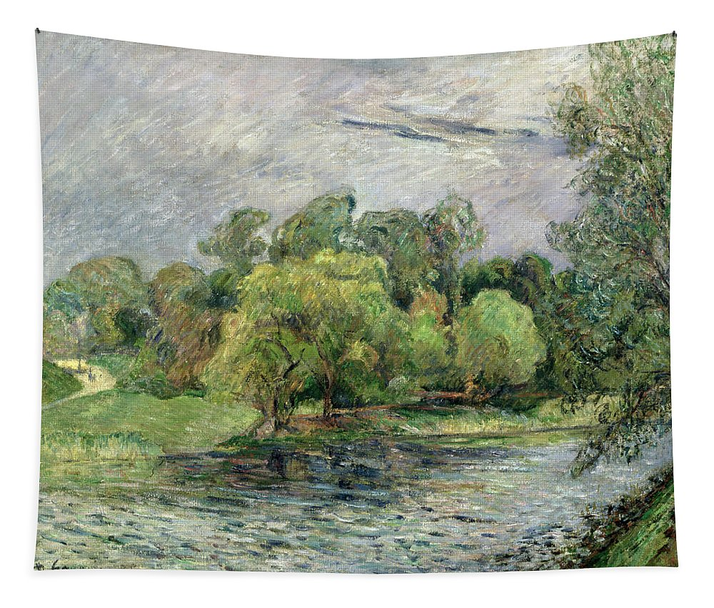Denmark Tapestry featuring the painting Oestervold Park, Copenhagen, 1885 by Paul Gauguin