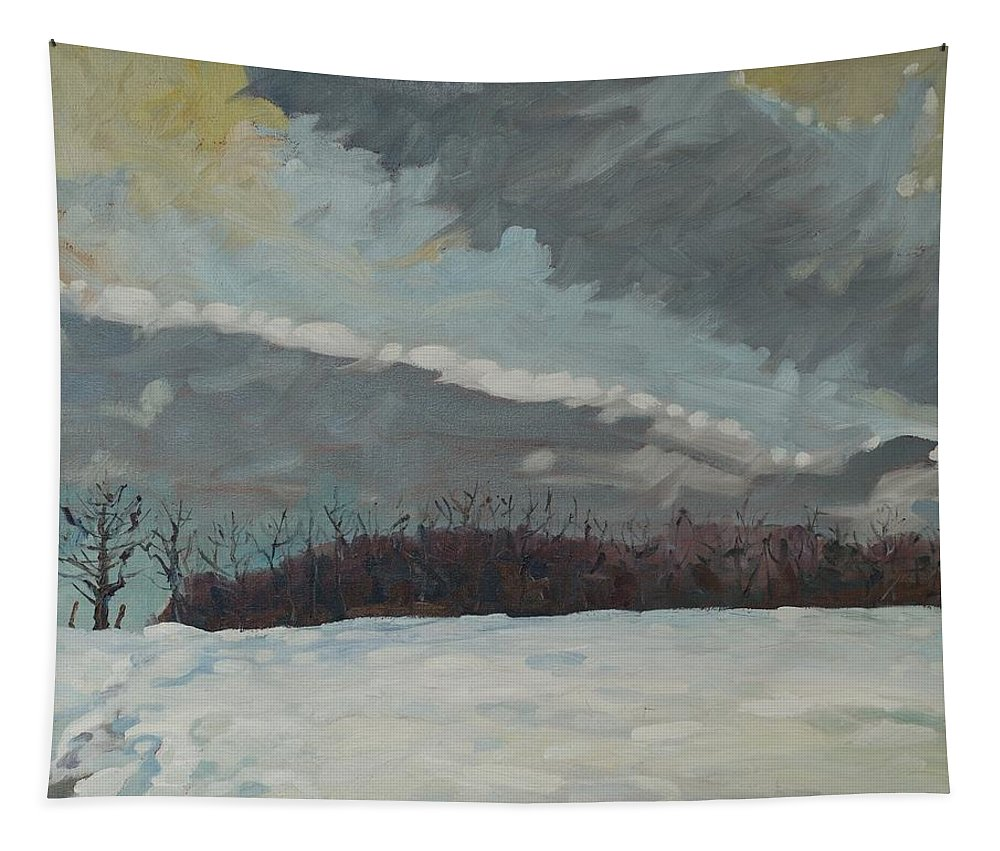 Clouds Tapestry featuring the painting Off To See The Blizzard by Phil Chadwick