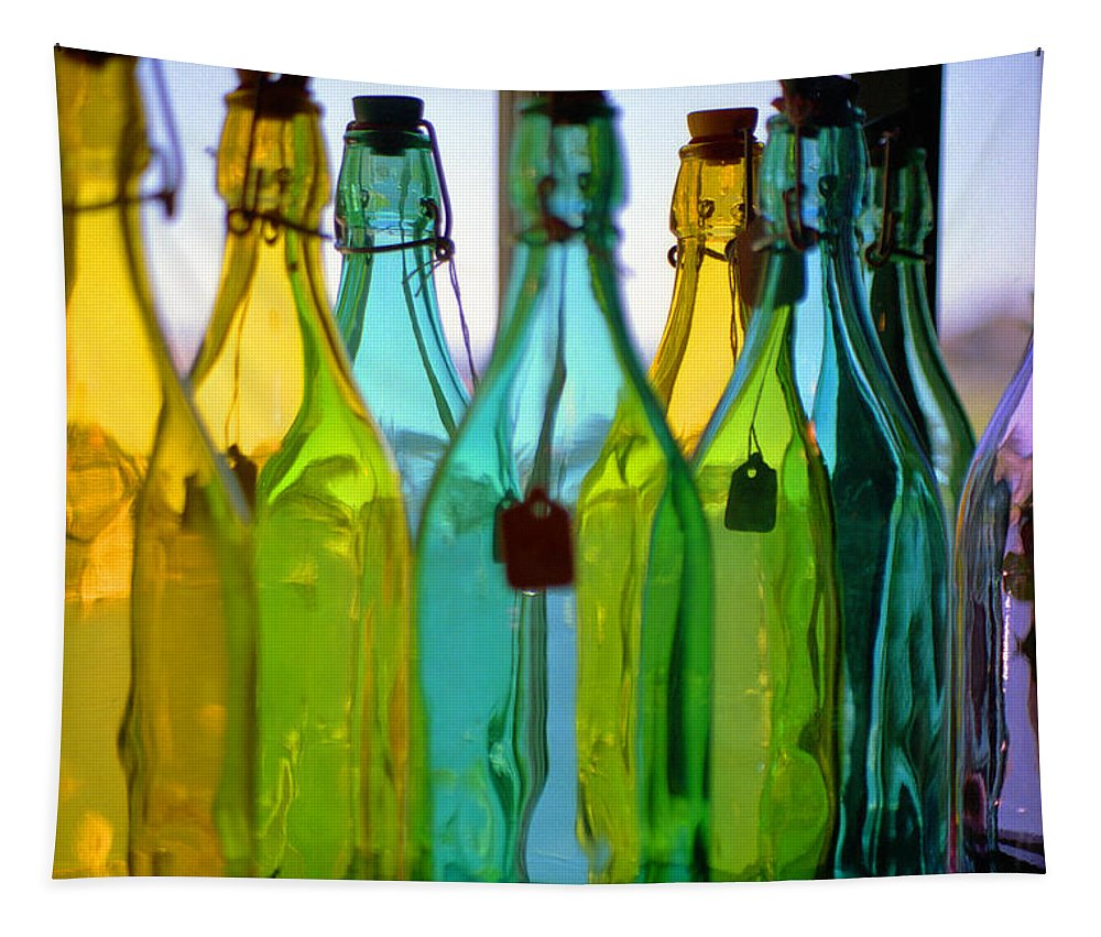 Vivid Tapestry featuring the photograph Ogunquit Bottles by Bruce Rolff