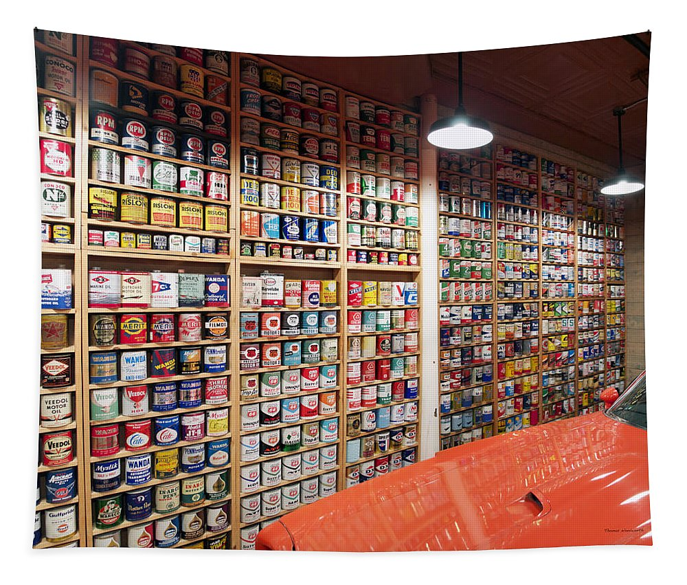 Oil Can Collection Tapestry featuring the photograph Oil Can Collection by Thomas Woolworth