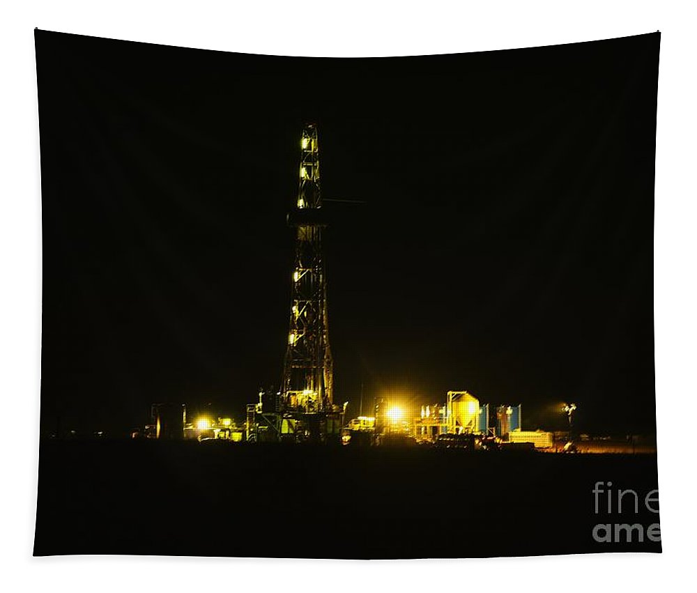 Oil Tapestry featuring the photograph Oil Rig by Jeff Swan