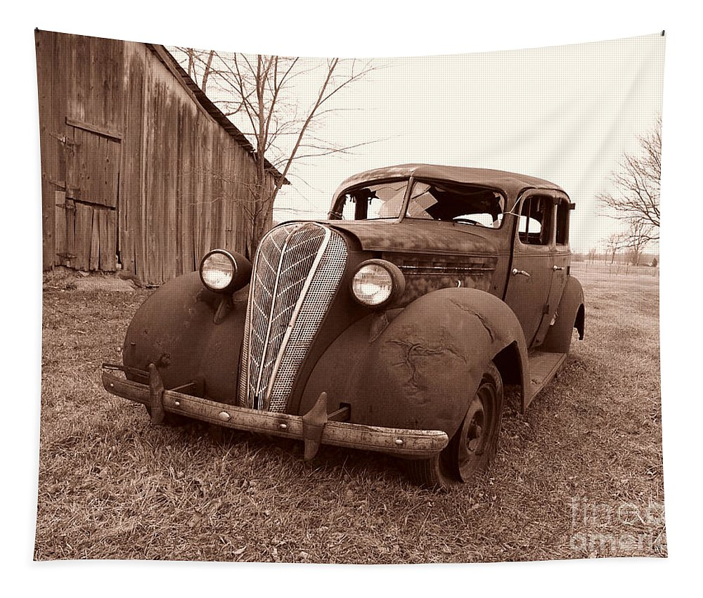 1936 Hudson Terraplane Sedan Tapestry featuring the photograph Old And Forgotten by Judy Whitton