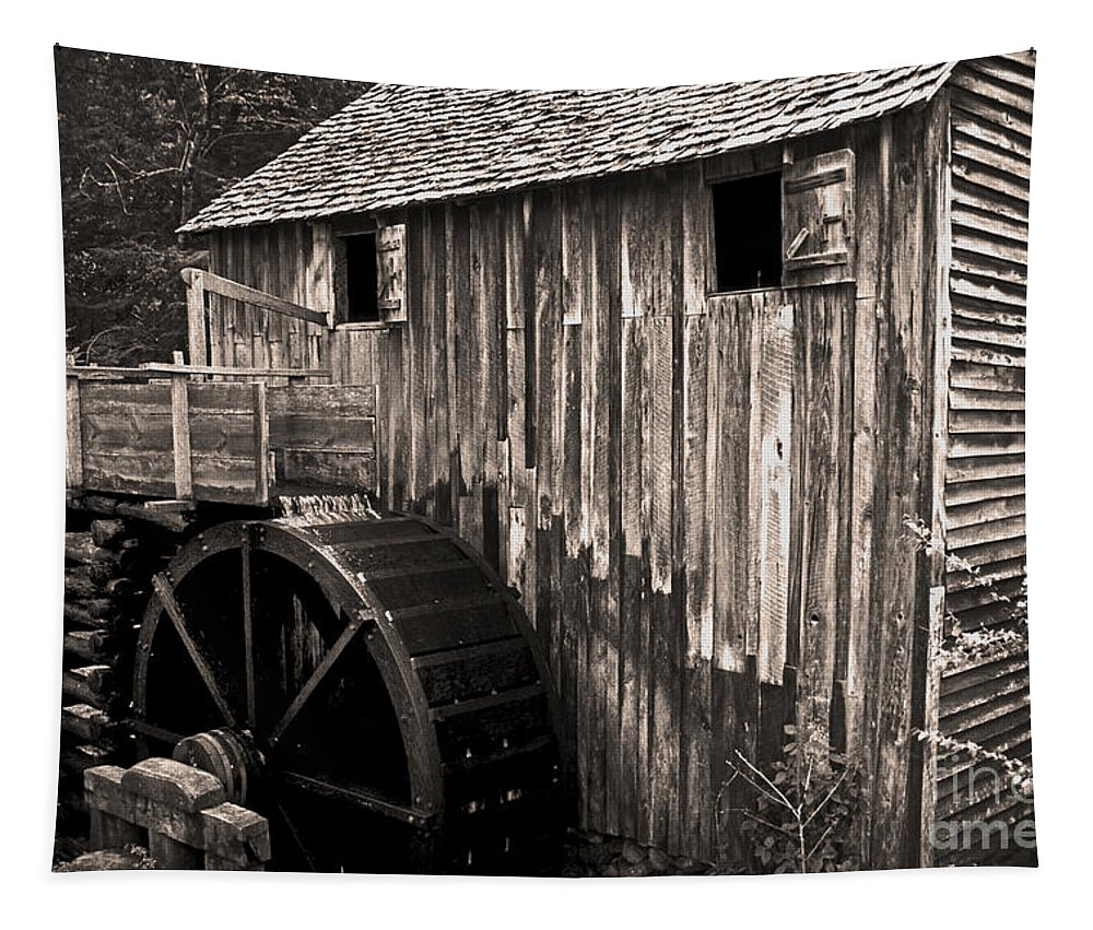 Grist Mill Tapestry featuring the photograph Old Appalachian Mill by Paul W Faust - Impressions of Light