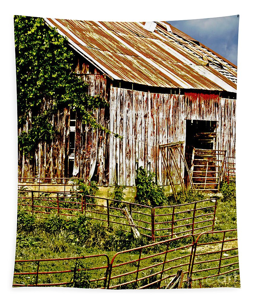 Abandoned Tapestry featuring the photograph Old Barn #3 by Tom Gari Gallery-Three-Photography
