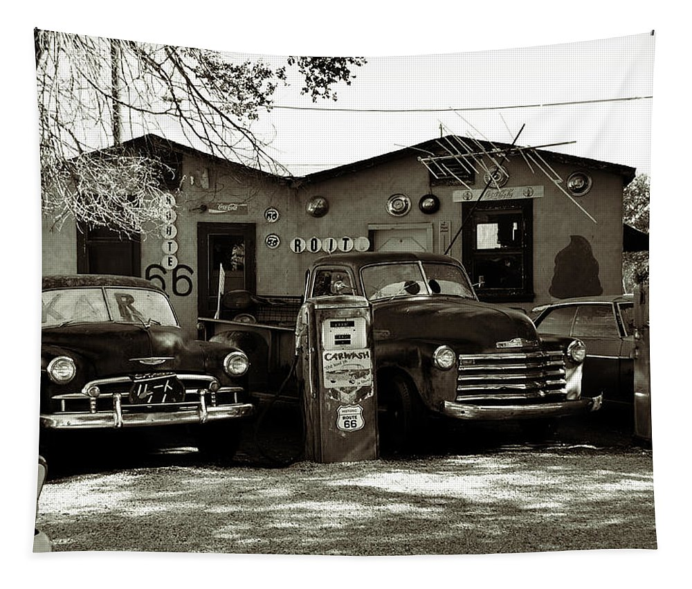 Car Tapestry featuring the photograph Old Cars On Route 66 by RicardMN Photography