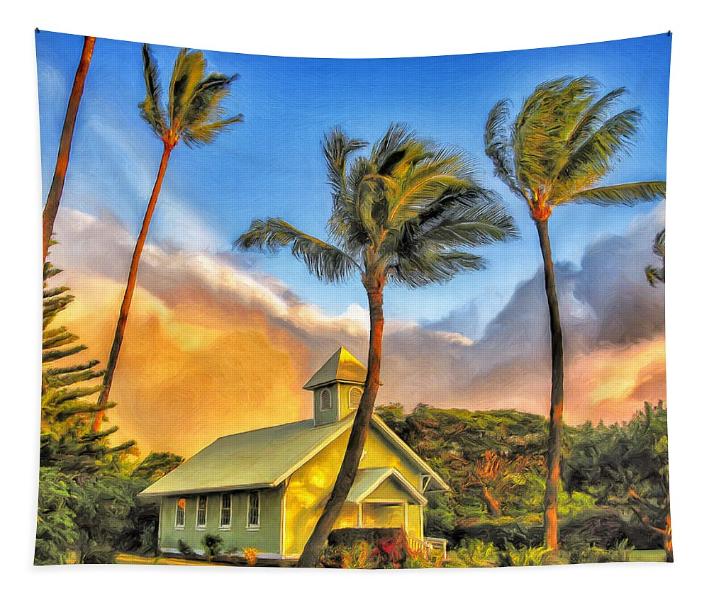 Church Tapestry featuring the painting Old Church At Honokawai Maui by Dominic Piperata